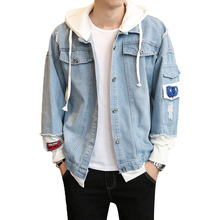Men Jackets Spring Autumn 2019 Fake Two Pieces Patchwork Denim trend Hooded Jacket embroidery casual new men's denim jacket Coat hooded wing embroidery distressed denim jacket
