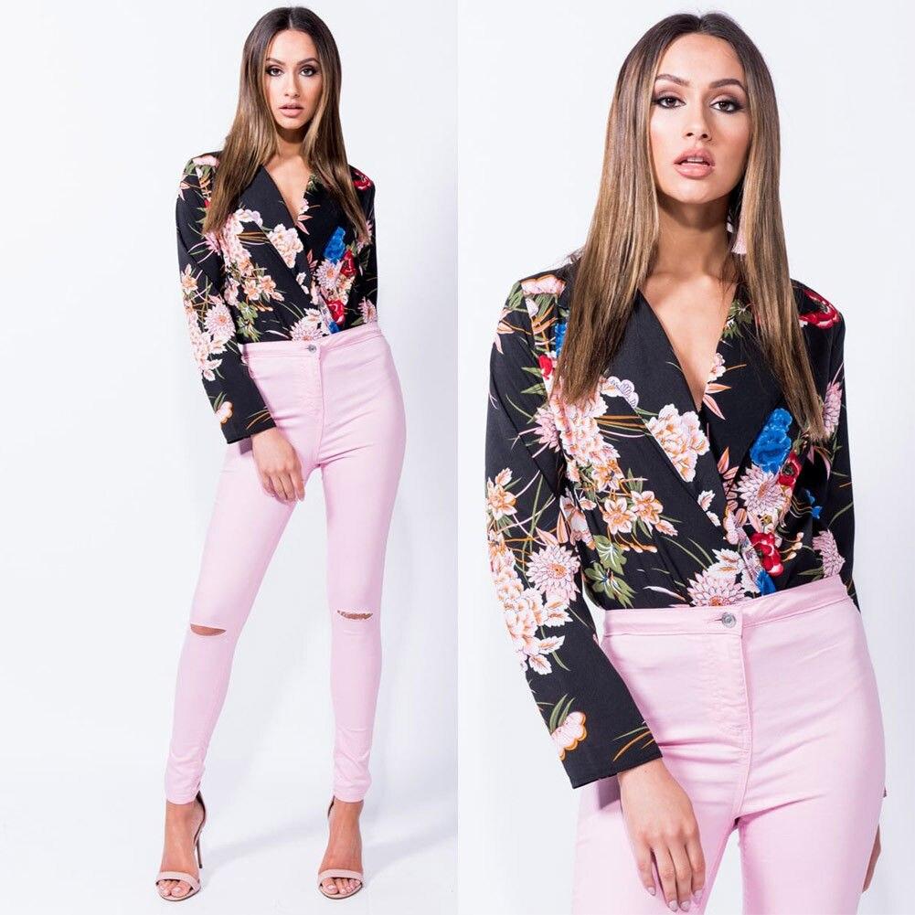 UK Womens Ladies Floral Print Tuxedo Wrap Over Satin Bodysuit Leotard Blouse Top
