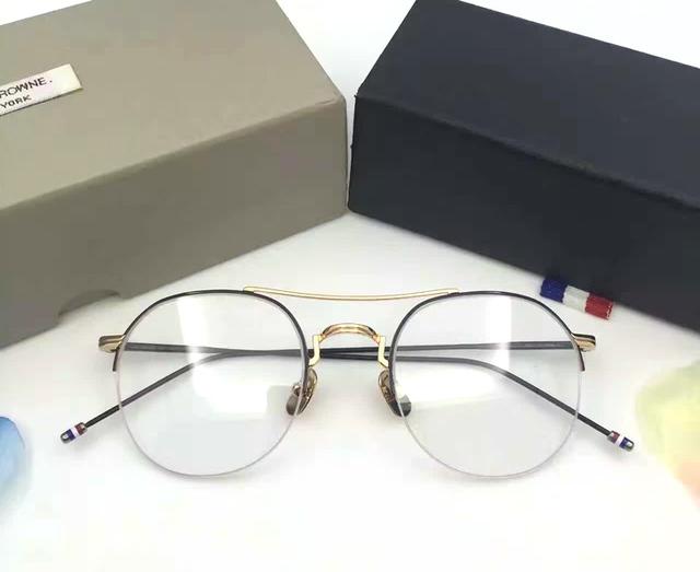Thom Browne Óculos Ópticos TB903 metade Quadros Homens Mulheres Óculos de Computador Miopia Olho Quadro Espetáculo Feminino das Mulheres com caixa