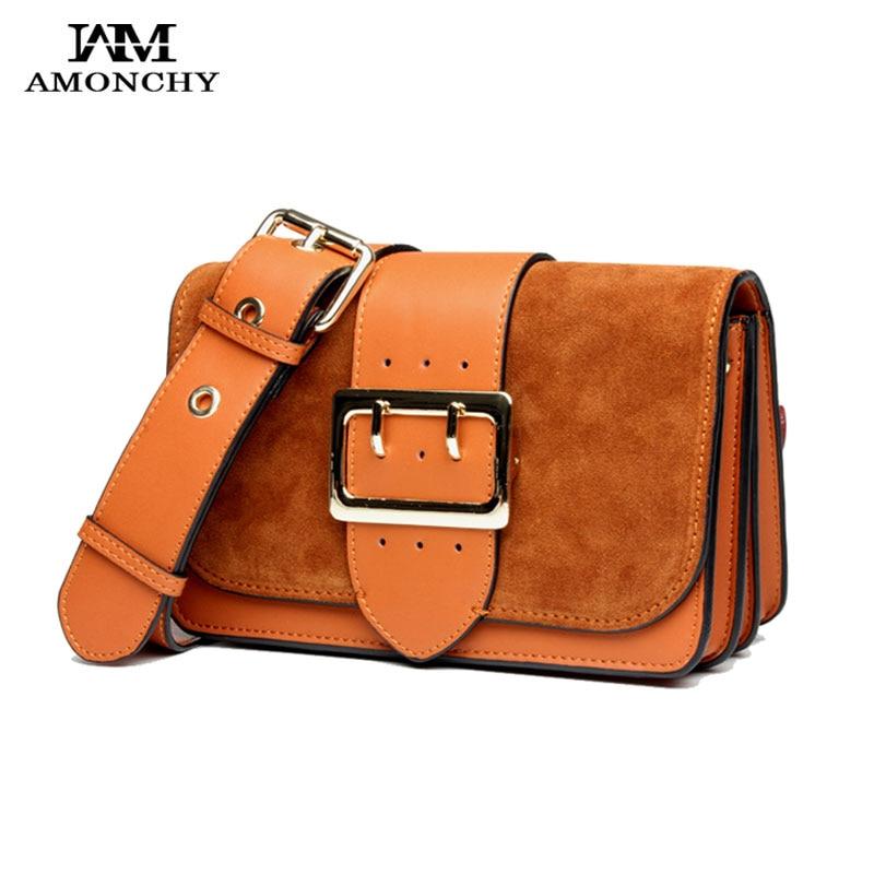 AMONCHY Genuine Leather Women Small Bags Nubuck Leather Shoulder Crossbody Bag Designer Messenger Bag Vintage Wide Strap Handbag dark grey nubuck leather handbag