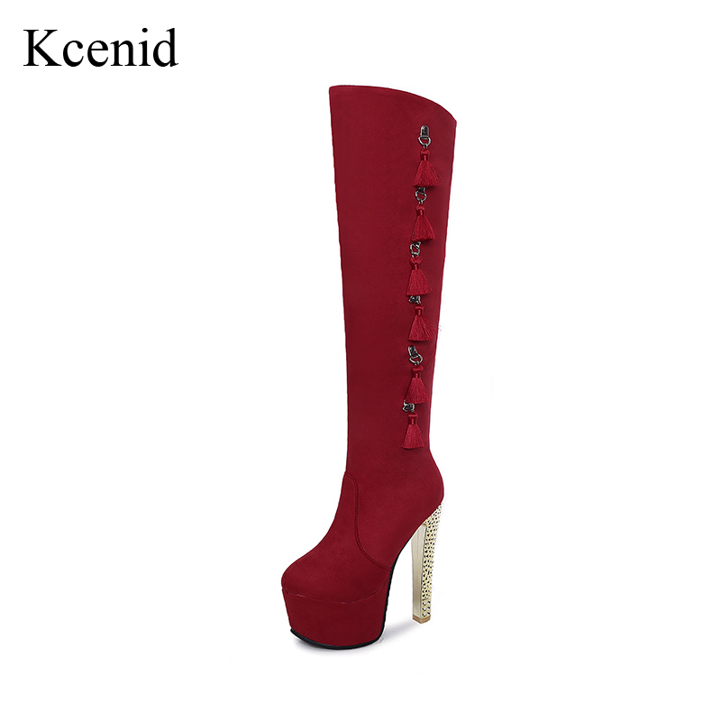 Kcenid Plus size 33-48 sexy rhinestone high heels women winter boots over the knee high riding boots tassel platform shoes woman new sexy women boots winter over the knee high boots party dress boots woman high heels snow boots women shoes large size 34 43
