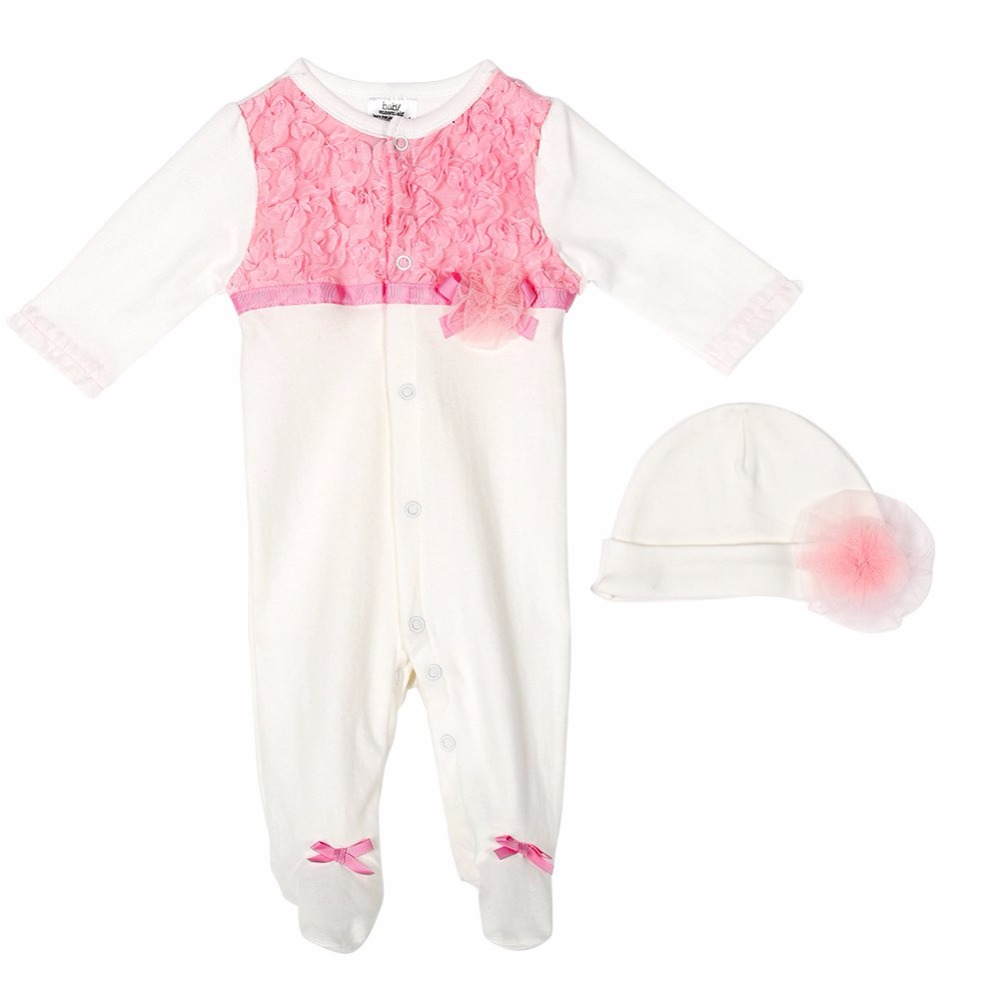 2pcs Set Newborn Infant Baby Girls Lace Jumpsuit Rompers Flower Hats Baby Clothing Sets newborn baby girl clothes air cotton winter thicken coveralls rompers princess lace infant girls clothing set jumpsuit hats