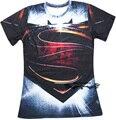 Clássico Harajuku Anime herói Superman e Batman 3d t camisa dos homens das mulheres moda verão de manga curta t Casual Tee camisas