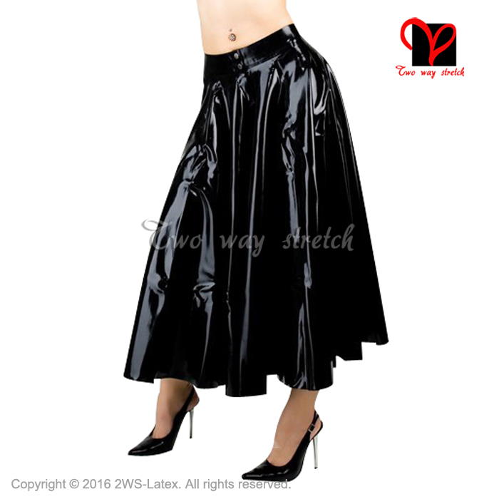 Sexy black Pleated Latex skirt With button at front Rubber skir plus size XXXL QZ 120