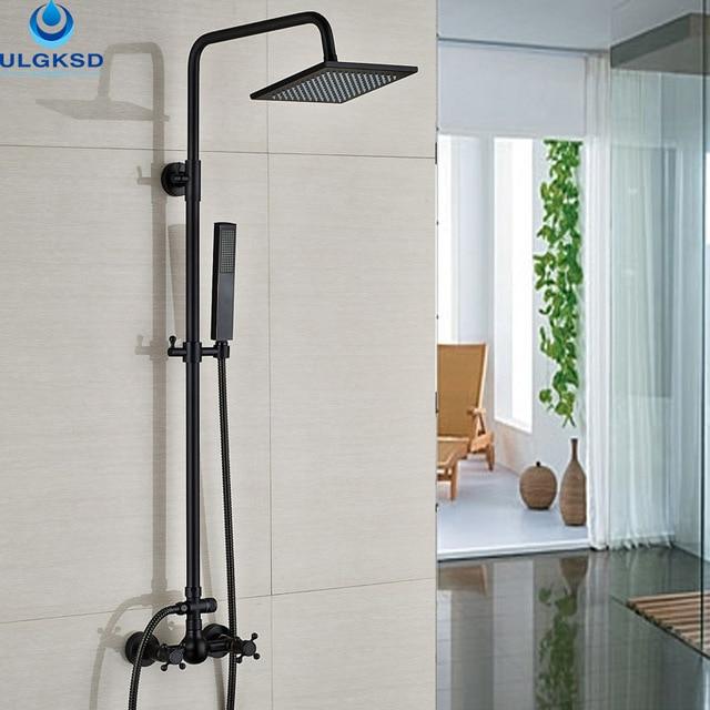 ULGKSD Black Brass Bathroom Shower Faucet 8\'\' Rainfall Head Rotate ...