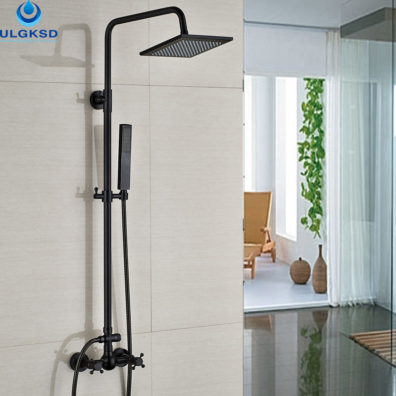 ULGKSD Black Brass Bathroom Shower Faucet 8 Rainfall Head Rotate Tub Filter Shower Dual Control Hnadshower With Saving Taps