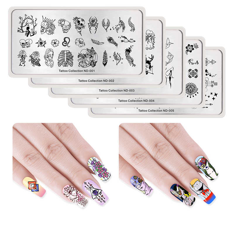 NICOLE DIARY Nail Stamping Image Plate Typography  Tattoo Nature Animal Nail Art Stamp Template Stencil Nails Tool