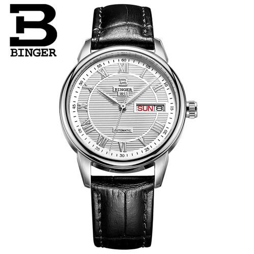 ФОТО Luxury Wristwatch Brand Binger Business Men Male Luxury Watch Casual Leather steel Calendar quartz watches relogio masculino