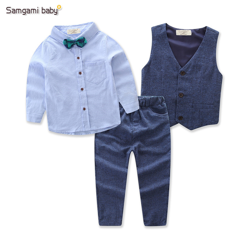 SAMGAMI BABY Autumn Boy Clothes 4pcs Long Sleeve Shirt +Vest+pants+Bow Tie Handsome Gentleman Kids Suit Boys Clothing Sets 2-7Y