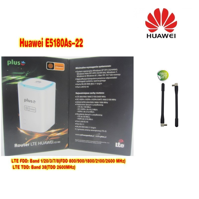 Lot of 20pcs huawei E5180as-22 plus+ logo 4G LTE CPE Wireless router plus 2pcs antenna DHL shipping