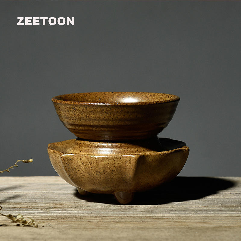 Zen Japanese Style Vintage Glaze Coarse Pottery Tea Strainers Puer Tea Filter Kung Fu Tea Set Accessories Creative Home Decor