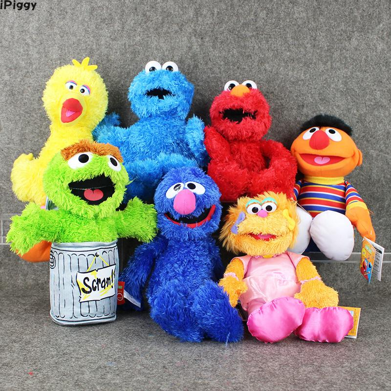 Us 9 76 15 Off Sesame Street Elmo Big Bird Cookie Monster Ernie Oscar The Grouch Zoe Grover Stuffed Plush Toy Puppet Kids Birthday Gift In Movies