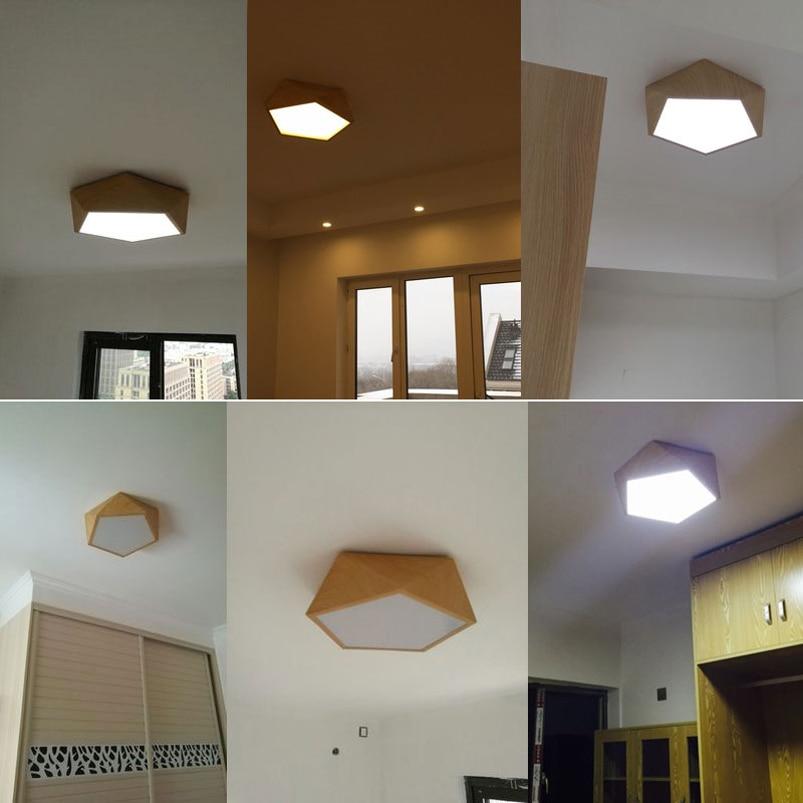 Kreative holz led decke licht Geometrische lampe moderne wohnzimmer schlafzimmer gang balkon decke lampe, Innen Beleuchtung Leuchte