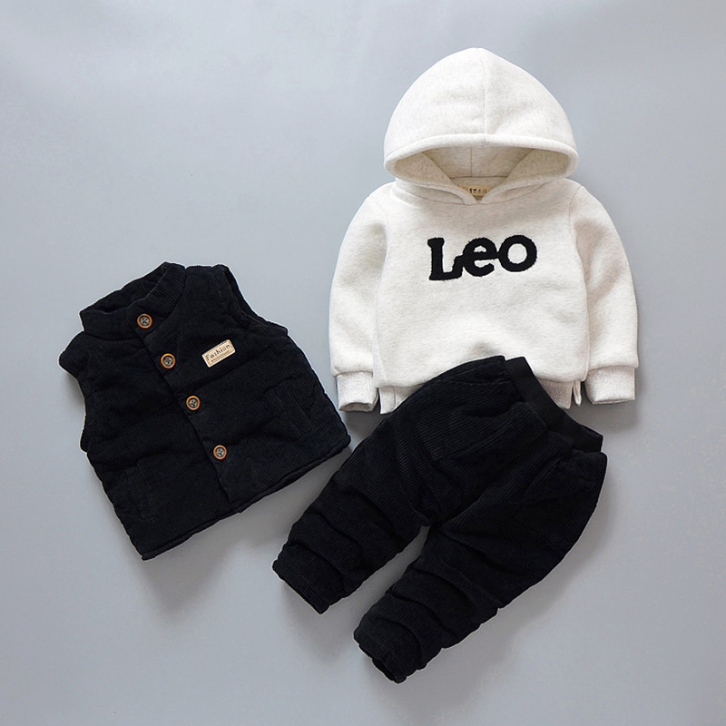 New Arrival Autumn Winter Children Clothing 1-4 Y Toddler Boys Clothing Set 3pcs Vest+Hooded Long Sleeve+Pants Kids Baby Suit недорого