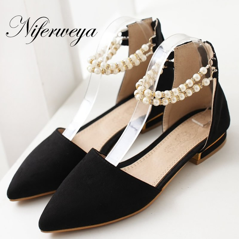 Big size 31-47 Spring/Autumn women shoes fashion Pointed Toe Ankle Strap flats Beading decoration flat sandals zapatos mujer pu pointed toe flats with eyelet strap