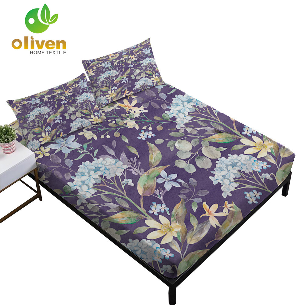 Multi-Color Flowers Painted Bedding Set Plant Leaves Fitted Sheet King Queen Bed Linens Flat Sheet Pillowcase Home Decor D20Multi-Color Flowers Painted Bedding Set Plant Leaves Fitted Sheet King Queen Bed Linens Flat Sheet Pillowcase Home Decor D20