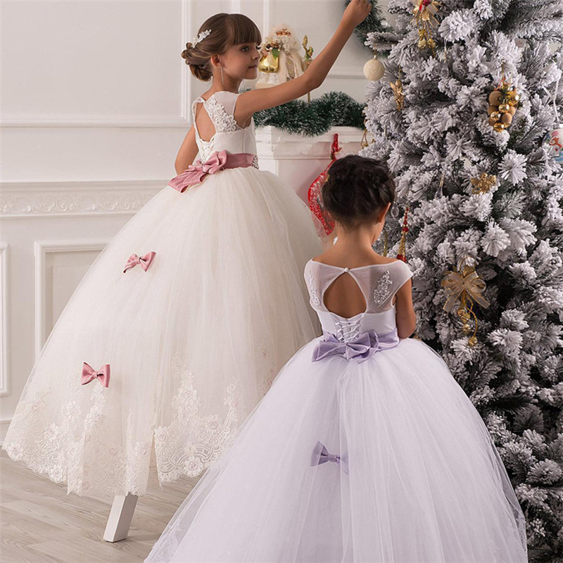 New Lace Princess   Flower     Girl     Dresses   2019 Ball Gown First Communion   Dresses   For   Girls   Sleeveless Tulle Toddler Pageant   Dresses