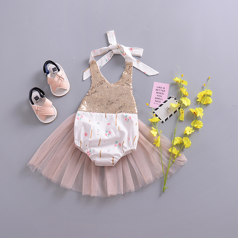2018 new fashion sweet girl Infants Summer romper sequins flower mesh halter rompers newborns girls body Climbing Clothes