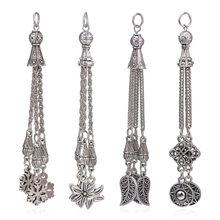 Juya DIY بها بنفسك العتيقة الفضة اللون ورقة ندفة الثلج زهرة الهلال شرابات معدنية فرش اكسسوارات لصنع المجوهرات المصنوعة يدويا