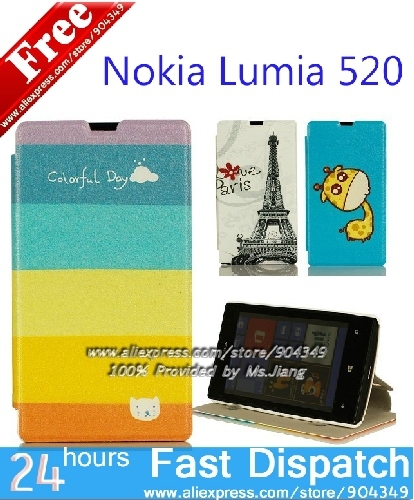 in Stock ! Flip Wallet Stand Cartoon printed PU leather Case Cover For Nokia Lumia 520 Phone Bag Fits Nokia 520 Case