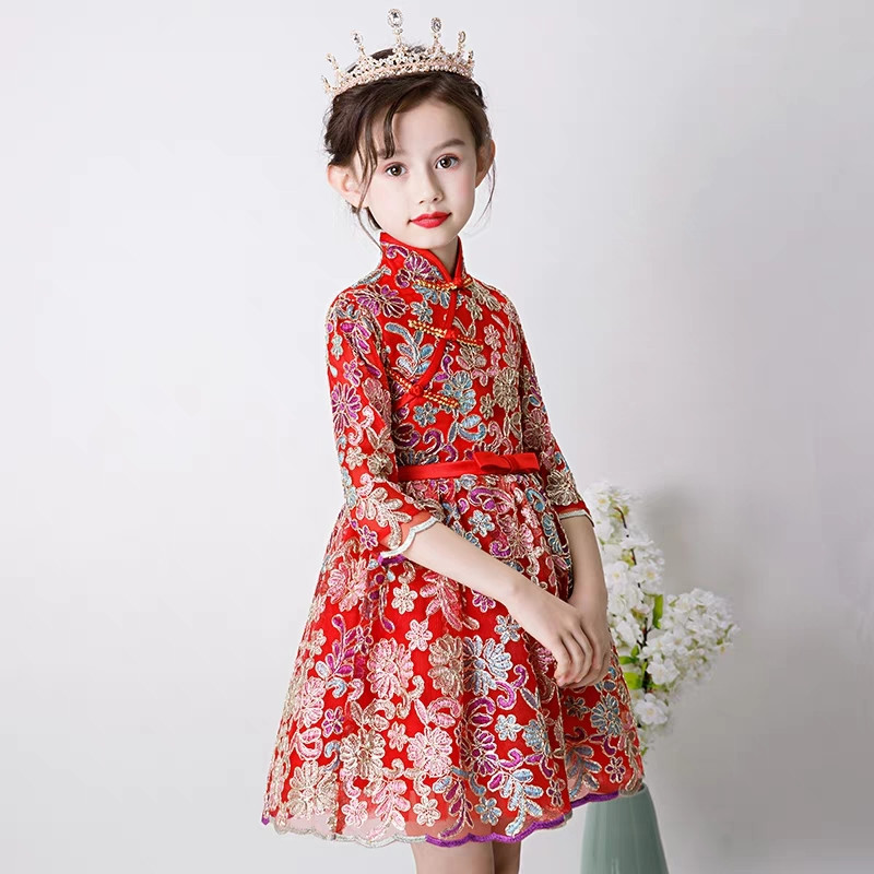 be8114d1aecb9 High-Quality Children Girls Chinese Style Luxury Red Embroidery Lace  Flowers New Year Birthday Qipao Princess Dress Baby Dress