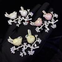 Унисекс офисная карьера 925 стерлингового серебра с кубическим Цирконом птицы брошь булавки двойные птицы модные ювелирные изделия для женщ