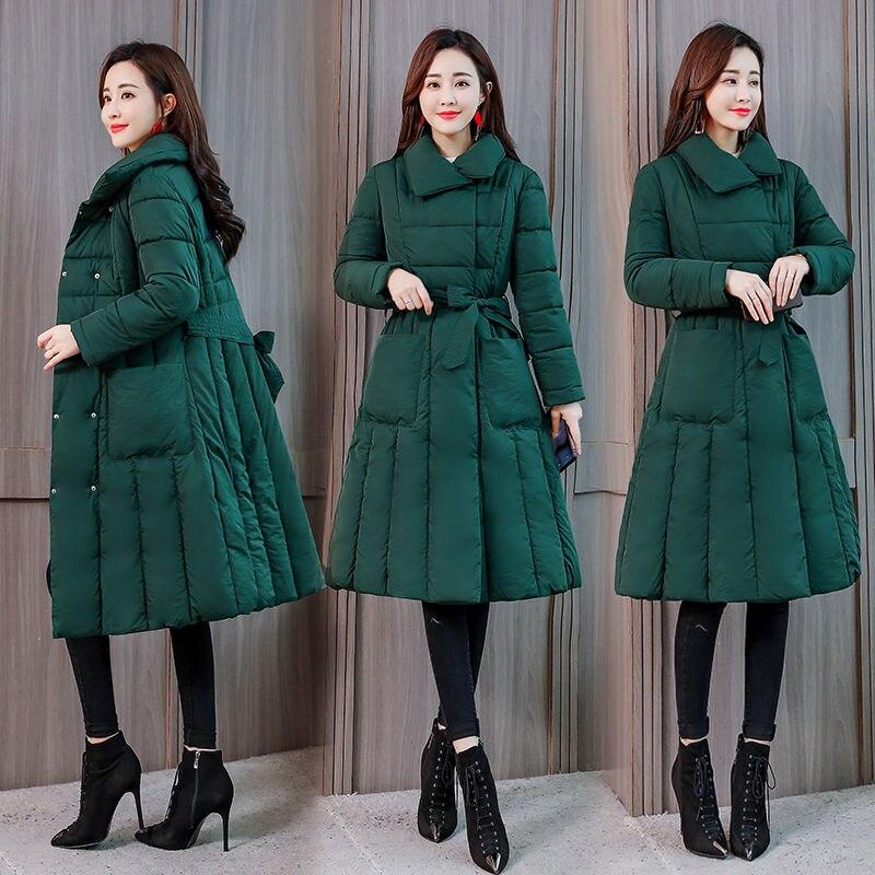 2018 Femmes Outwear gray D'hiver green N71 Chaud Casual Black Longue Dames mi Nouveau Vers jiu Hong Bai Manteau Femelle Parkas Le Coton Veste Taille Bas Élégant De Réglable Mode Se wrqFarC5E
