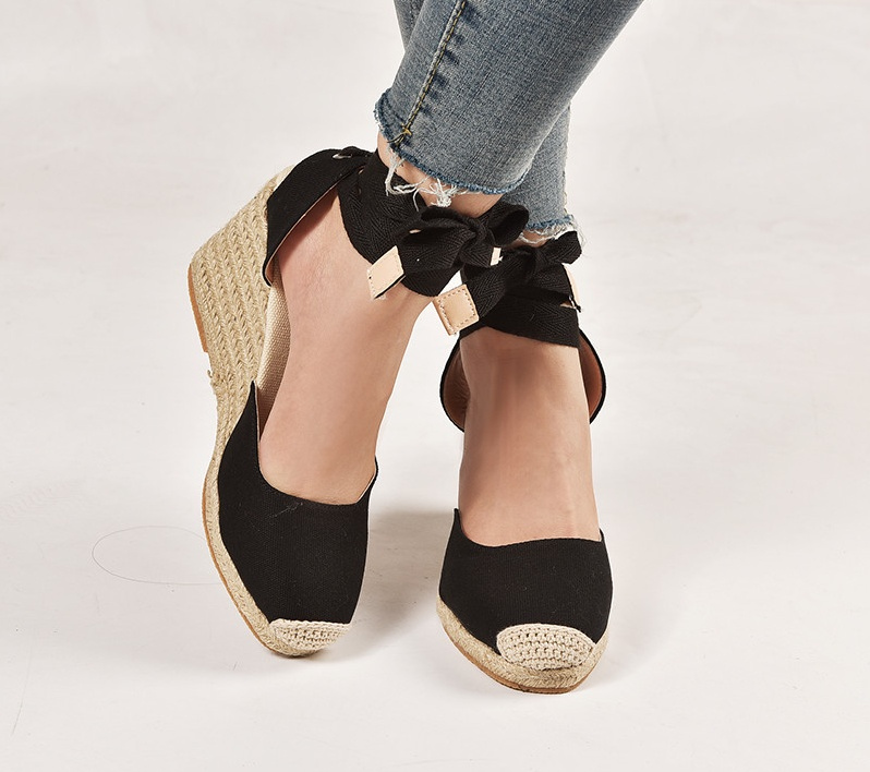 Sandals Comfortable Espadrille Ankle-Strap Hemp Slippers Pumps Casual Shoes Womens Ladies