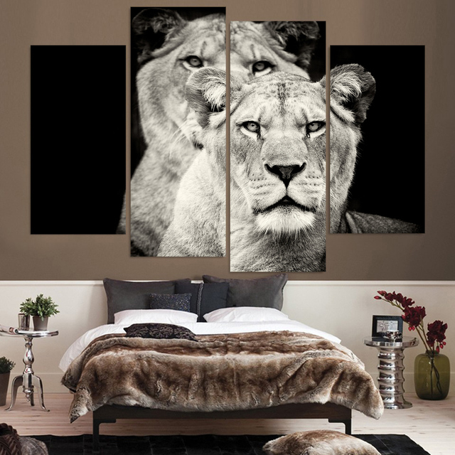 Hd Printed 4pcs Black And White Lion Painting On Canvas Room Decoration Print Poster Picture Framed Free Shipping Ny 5726