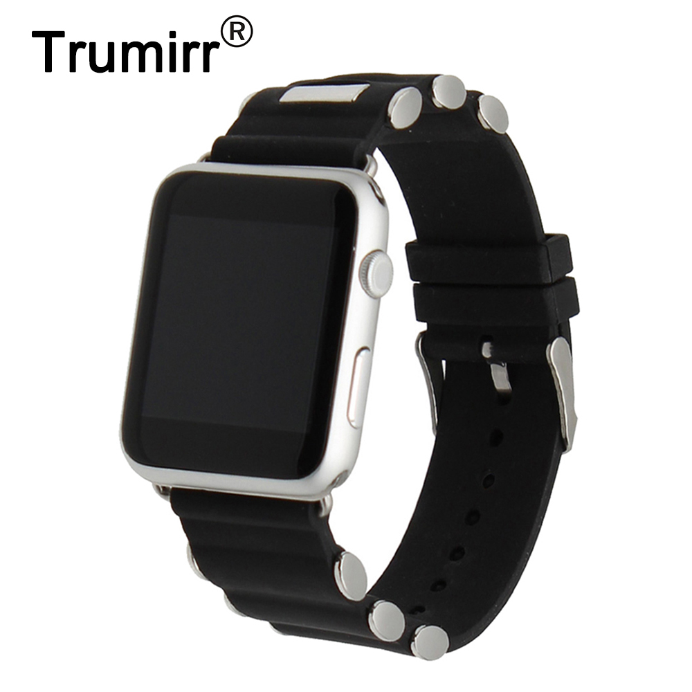 Silicone Rubber Watchband for iWatch Apple Watch 38mm 42mm Replacement Band Stainless Steel Buckle Wrist Strap Bracelet Black silicone rubber watch band 15mm 16mm 17mm 18mm 19mm 20mm 21mm 22mm for mido stainless steel pin buckle strap wrist belt bracelet
