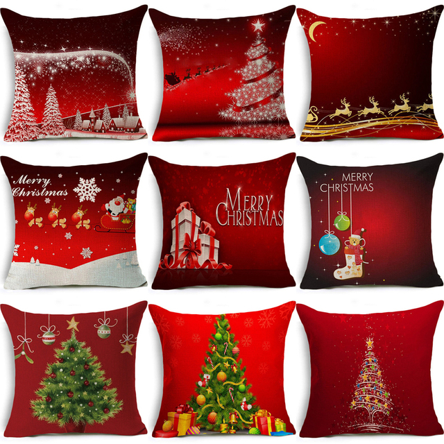 Homing Linen Cotton Cute Deer Letter Merry Christmas Cushion Cover Modern Throw Pillow Cozy