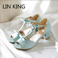 LIN KING Summer Women Pumps Sandals Fashion Lady Open Toe Shoes Sweet Bowtie Low Square Heel Dress Shoes Lolita Shoes Female