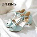 LIN REY Del Verano Mujeres Sandalias de Las Bombas de Señora de La Manera Del Dedo Del Pie Abierto zapatos Dulce Bowtie de Tacón Bajo Square Zapatos de Vestir Zapatos del Lolita femenino