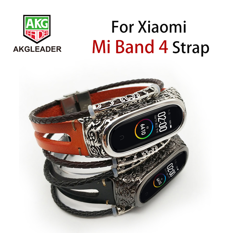 AKGLEADER For Xiaomi Mi Band 4 Nfc Retro Watch Band Genuine Leather With Jewelry Wrist Strap Metal Engrave Case For Miband 3 Mi4