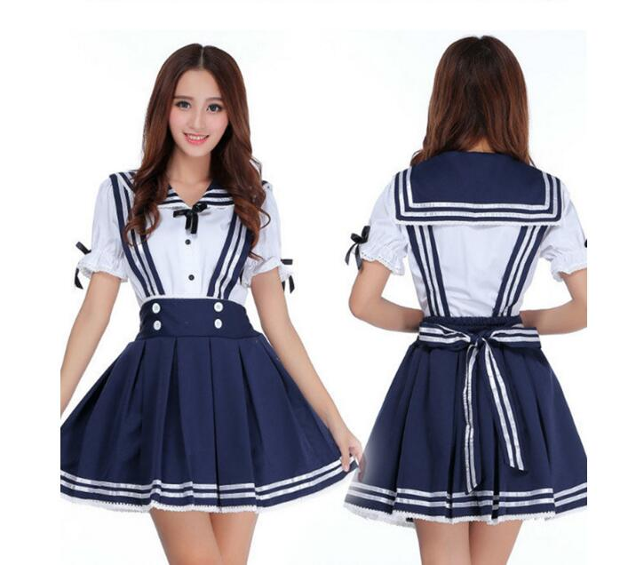1 piece Sunshine Cosplay Costume Japanese Anime Girl Sailor School Uniform Clothes Maid Costume
