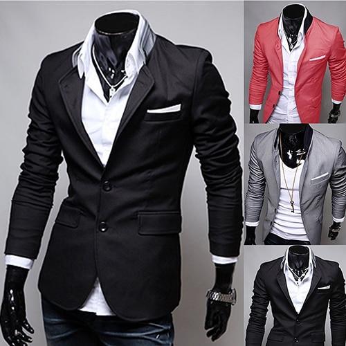 Hombres casual dos Botones cuello alto moda traje más tamaño chaqueta del  traje de negocios 4997688039e4