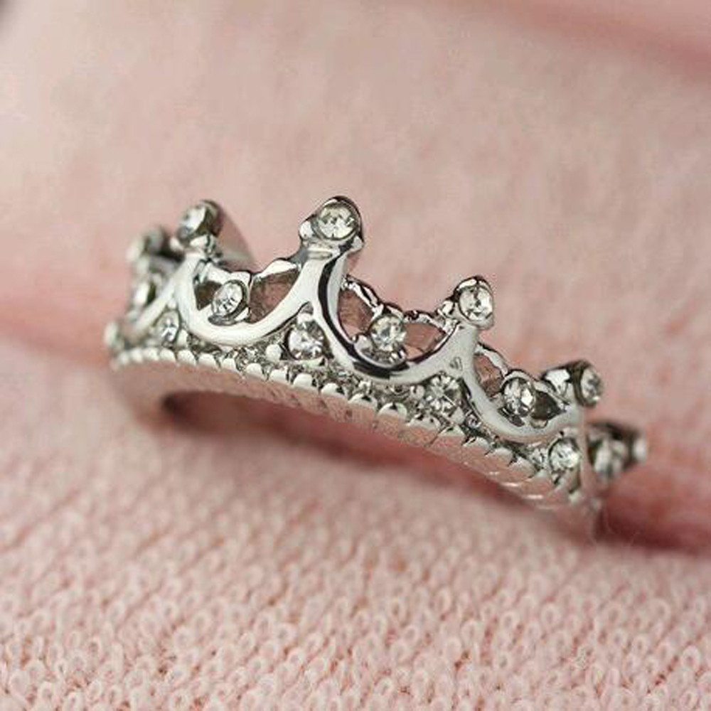 Retro Crystal Drill Hollow Crown Shaped Queen Temperament Rings For ...