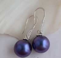 Prett Lovely Women S Wedding FREE Shipping 14MM ROUND BLUE SOUTH SEA SHELL PEARL DANGLE