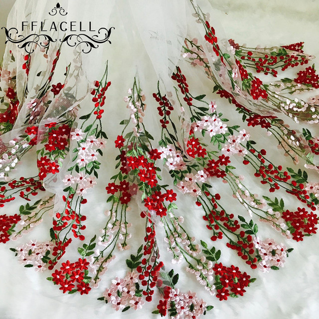Fflacell 5yards Heavy Flower Mesh Net Embroidery Fabric African Lace