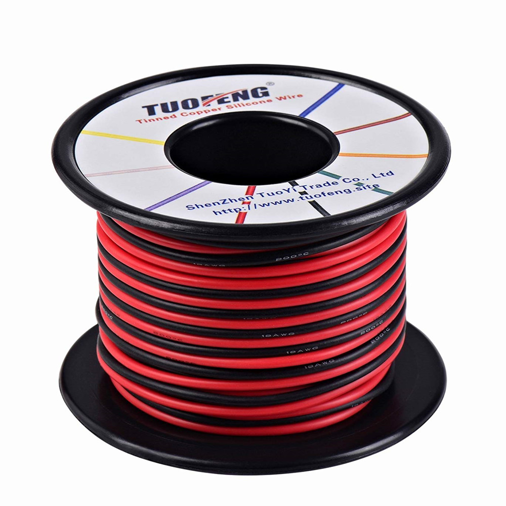 18awg Wire, 66 Feet Super Flexible Silicone Insulated Hookup Wire 33 ft Black 33 ft Red 2 separated wires Tinned Copper Wire 20awg soft flexible silicone wire black red 100cm 2 pcs