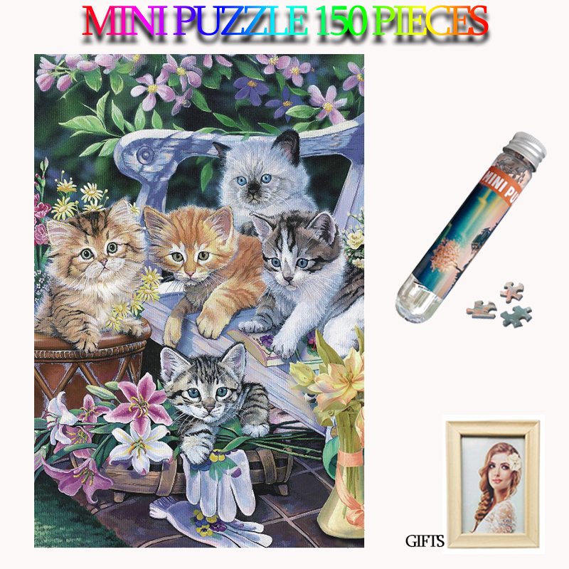 MOMEMO Lovely Kittens 150 Pieces Mini Adults Jigsaw Puzzles Paper Tube Puzzle Kawaii Cats Animal Puzzle 150 Pieces Puzzle Games