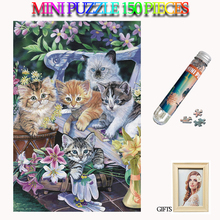 MOMEMO Lovely Kittens 150 Pieces Mini Adults Jigsaw Puzzles Paper Tube Puzzle Kawaii Cats Animal Games