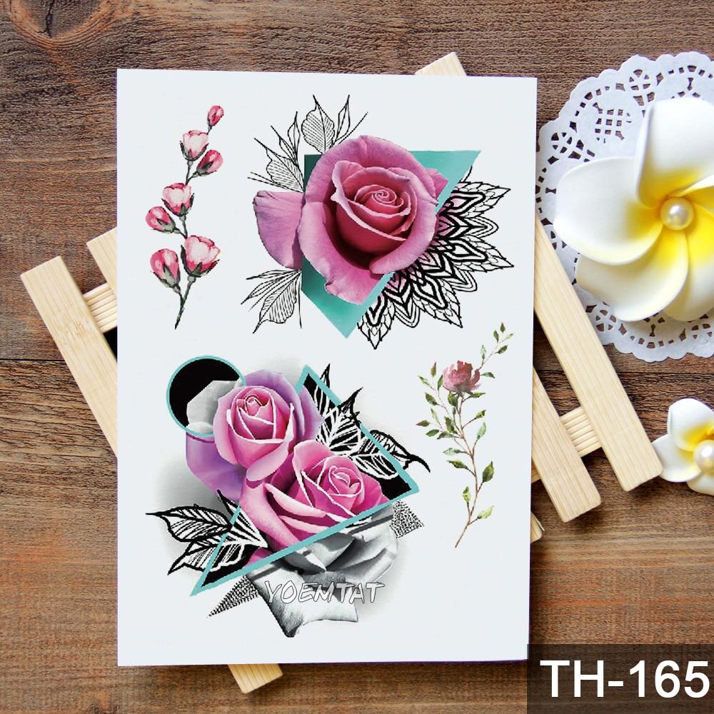 Waterproof Temporary Tattoo Sticker Geometric modern rose flower pattern 1