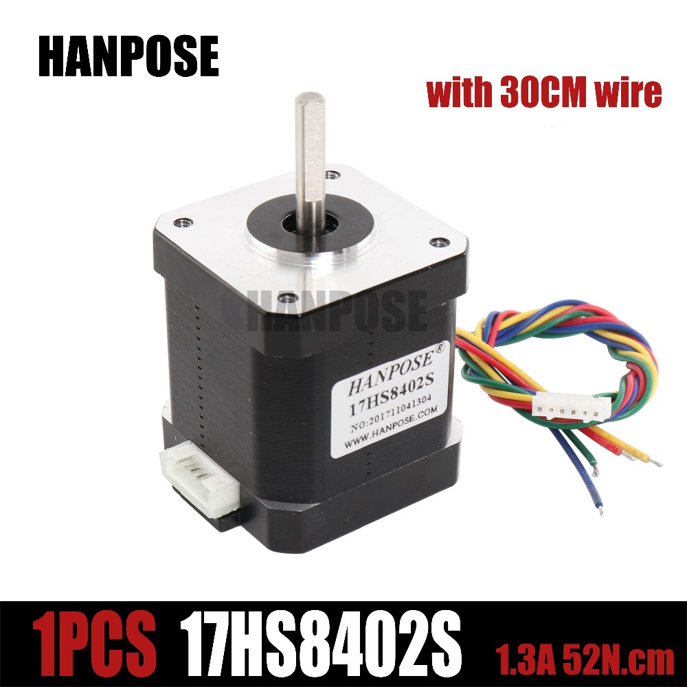Free shipping 1pcs Nema17 Stepper Motor 48mm 1.3a  52N.cm Nema 17  motor 42BYGH 1.7A (17HS8402)  4-lead motor for CNC 3D printer