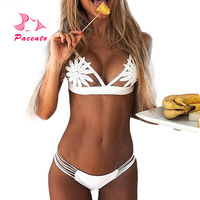 Pacento Bikini Set Hollow Out SwimWear Women Sexy Swimsuit Female White Lace Biquini Bandage Hot Bathers