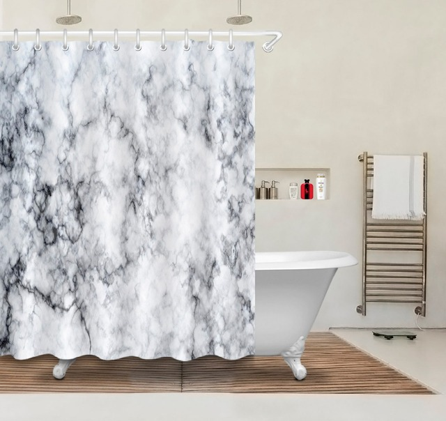 72 Vintage Marble Texture Style Bathroom Fabric Shower Curtain Liner Waterproof Polyester Accessory Sets 12 Hooks