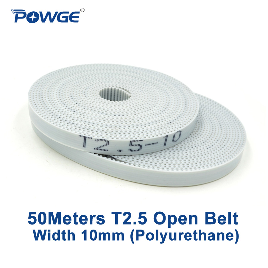 POWGE 50Meters Trapezoid T2 5 Open synchronous Timing belt width 10mm Polyurethane steel PU T2 5