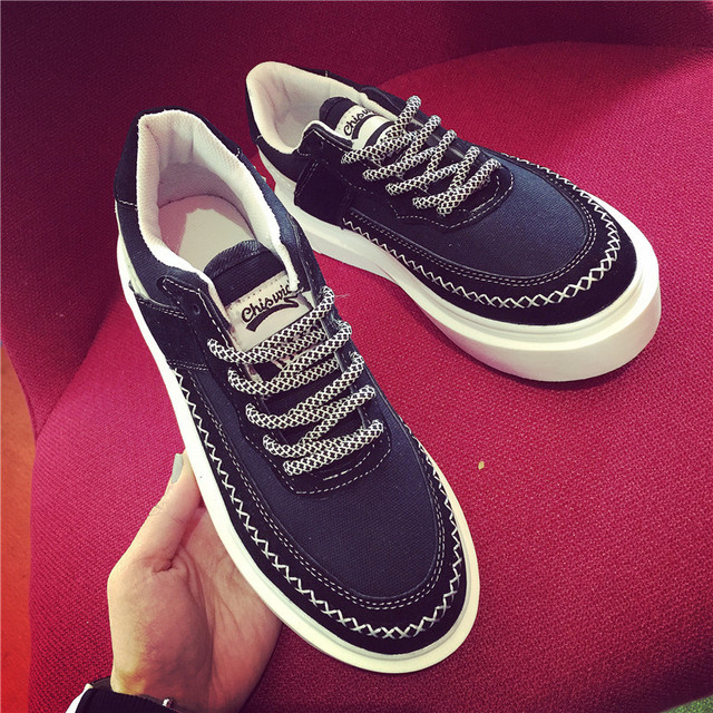 Korean Women Casual Canvas Shoes Rubber Heavy-Bottomed Platform Shoes Mark Bottom lined Leisure Shoes For Female
