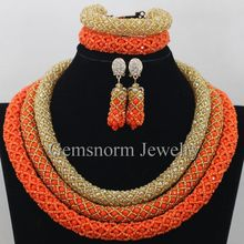 Delicate 3 Layers Gold Coral Nigerian Wedding African Beads Jewelry Set
