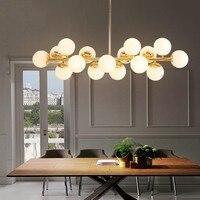 16 голов постмодерн золото подвесной светильник в стиле лофт арт креативные волшебные бобы Подвесная лампа столовая Бар кухонный светодиод